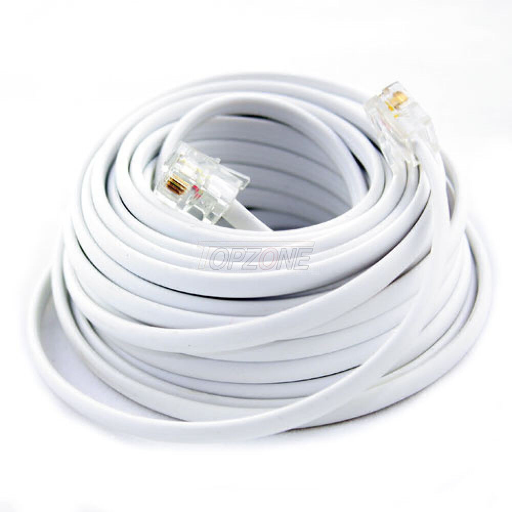 New 100ft 100 Feet White Phone Line Cord Dsl Cable Ebay