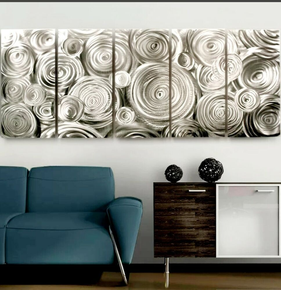Large modern silver abstract fine metal wall art office for Silver wall art