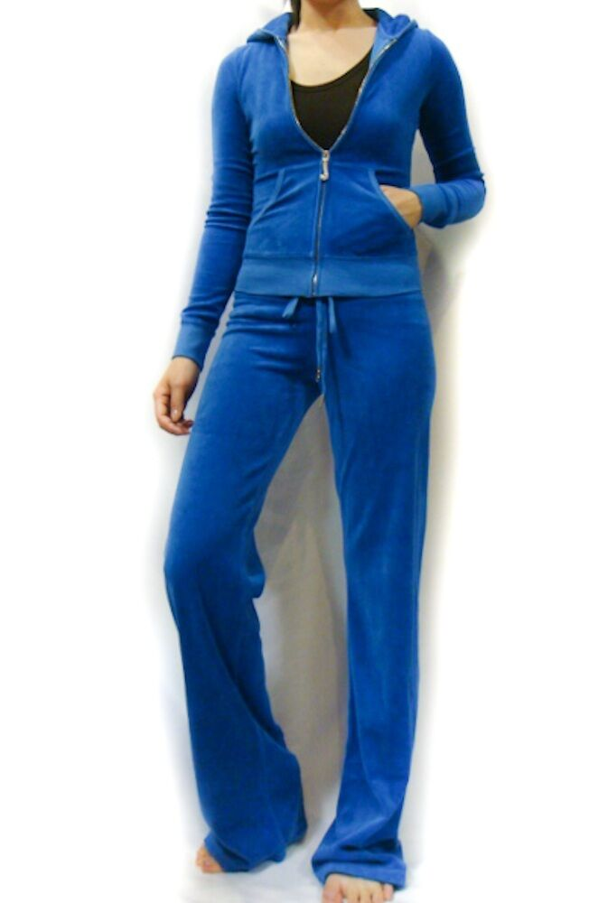 Juicy Couture Blue Soft Velour Hoodie Pant Tracksuit | eBay