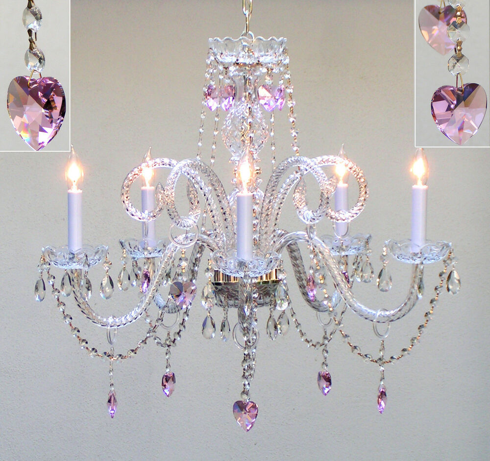 CHANDELIER LIGHTING W/ CRYSTAL PINK HEARTS *FREE S/H!