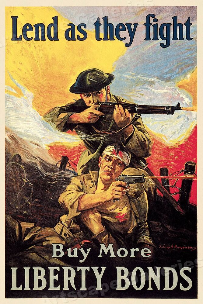 Lend as they fight buy liberty bonds wwi poster 24x37 ebay for Buy cheap posters online