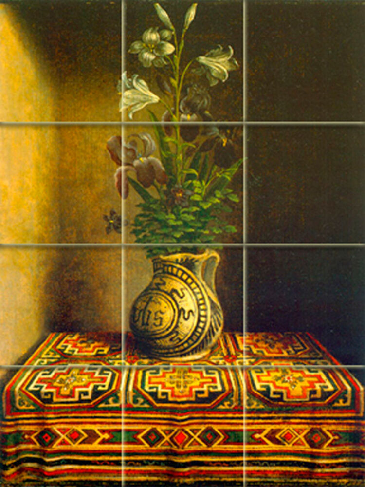 Art hans memling vase mural tumbled marble backsplash tile for Backsplash mural