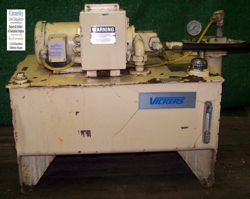 1 Hydraulic Tank 1 1 2 Hp Electric Motor Vickers Pump