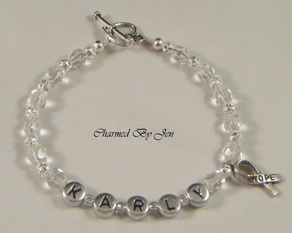 lung cancer awareness personalized name bracelet ebay