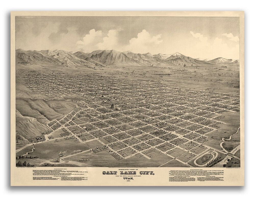 1875 salt lake city utah map salt lake county 24x32 ebay Home decor stores utah county