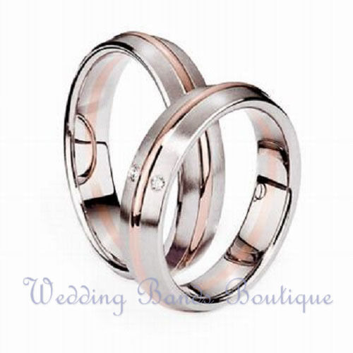 14k White Pink Rose Gold His Hers Matching Wedding Bands Rings Set with Diamo