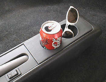 Genuine Black Leather Centre Console Cup Holder For