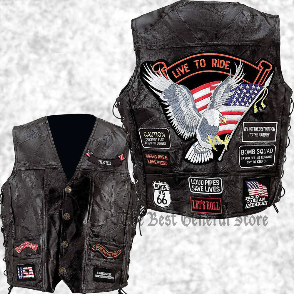 Biker Vest Patches >> Mens Black Leather Motorcycle Vest Waistcoat with 14 Biker-Style Patches Eagle | eBay
