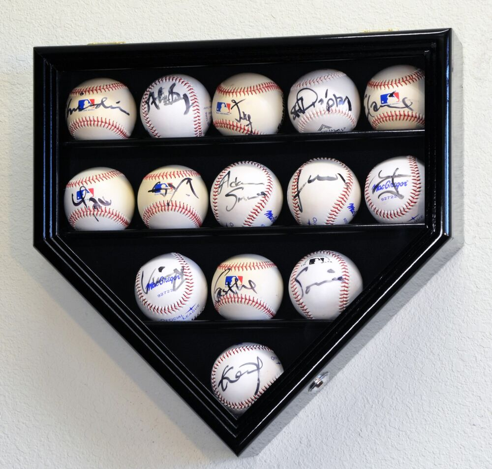 14 Baseball Ball Display Case Cabinet Holder Home Plate