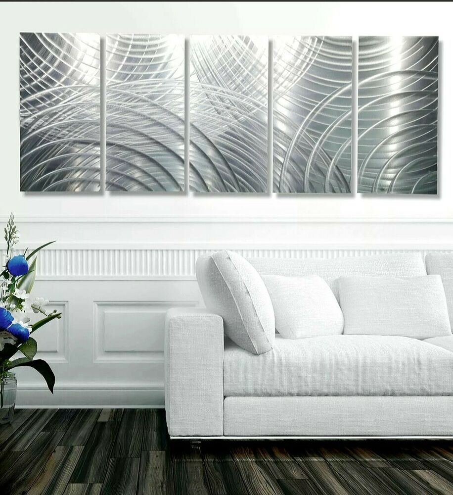 Large modern abstract silver corporate metal wall art for Large modern wall art
