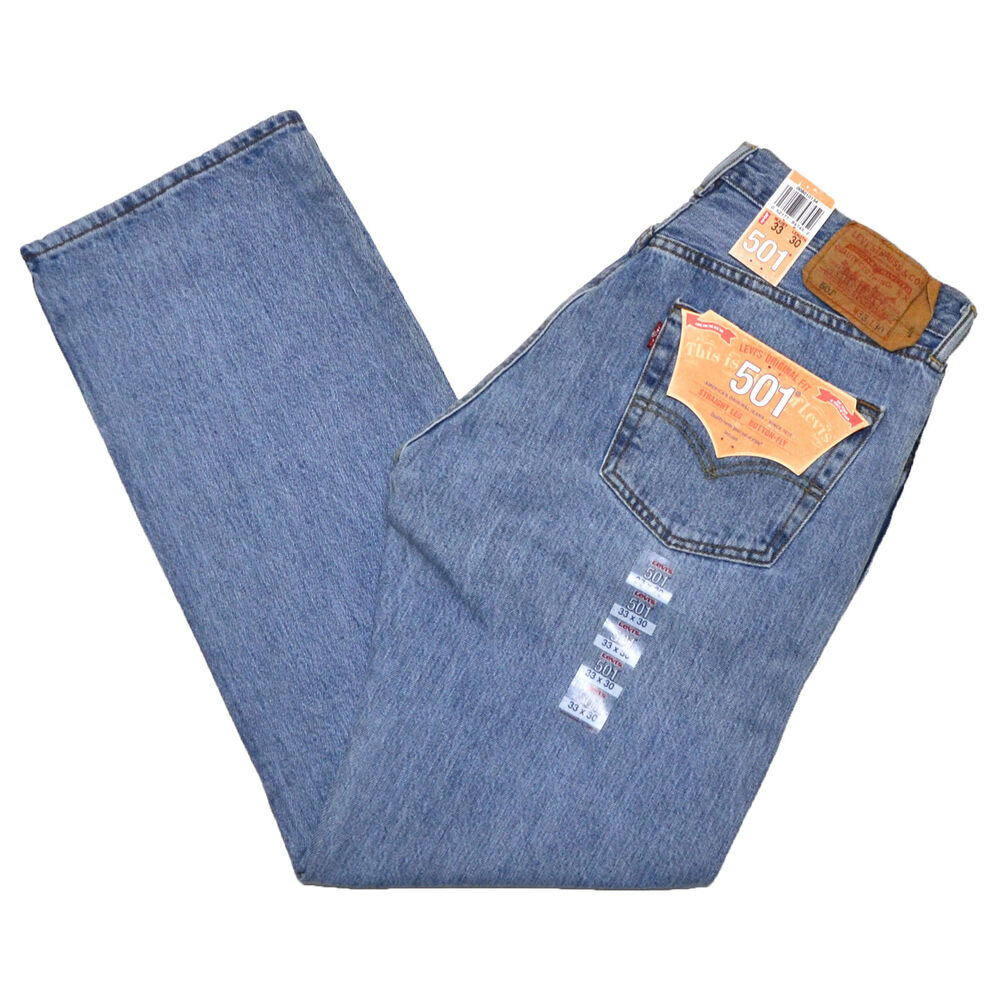 levis 501 jeans mens original fit button fly 0134 light stonewash blue denim ebay. Black Bedroom Furniture Sets. Home Design Ideas