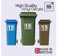 3 x WHEELIE BIN NUMBERS CUSTOM VINYL STICKERS WITH STREET/ROAD/HOUSE NAME