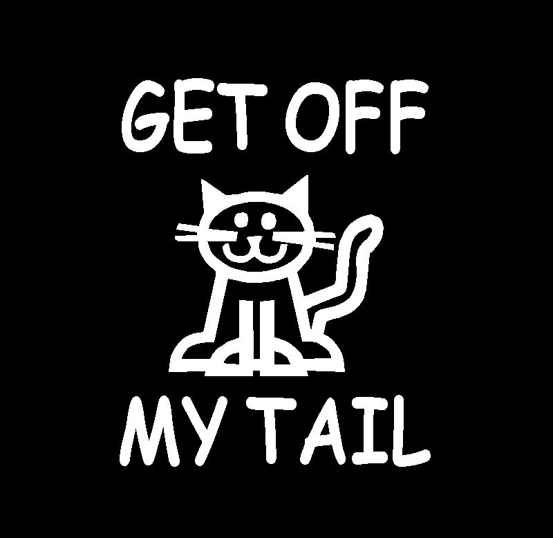 Get off my tail tailgating sticker decal graphic cat ebay for Getting stickers off glass