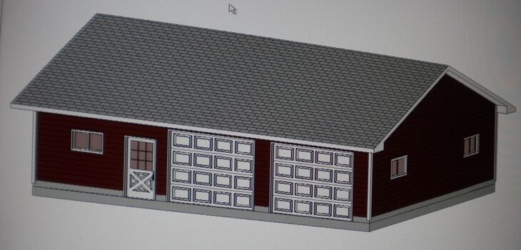 26 39 x 36 39 garage shop plans materials list blueprints ebay for Material list for garage