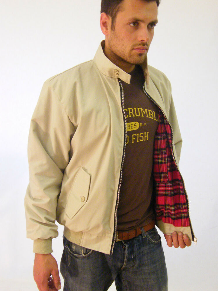 New Mens Harrington Jacket Classic Bomber Coat Cream Beige