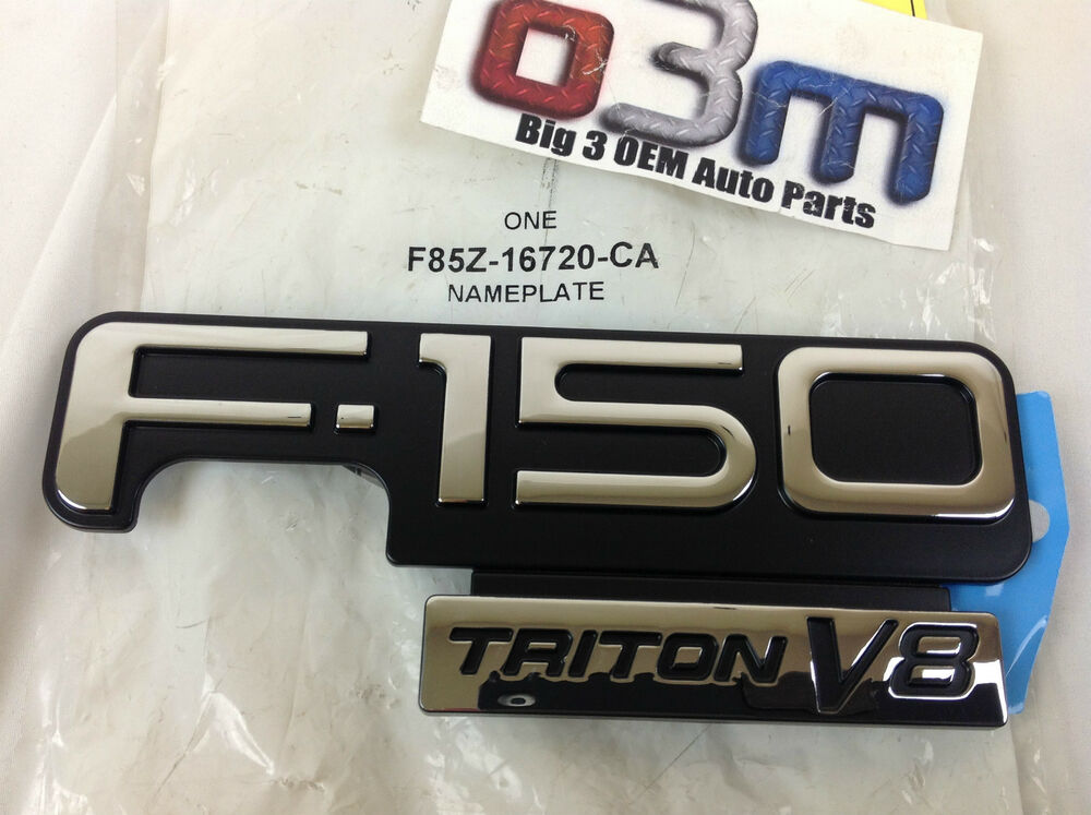 1998 2003 ford f150 triton v8 black and chrome fender emblem oem f85z 16720 ca ebay. Black Bedroom Furniture Sets. Home Design Ideas