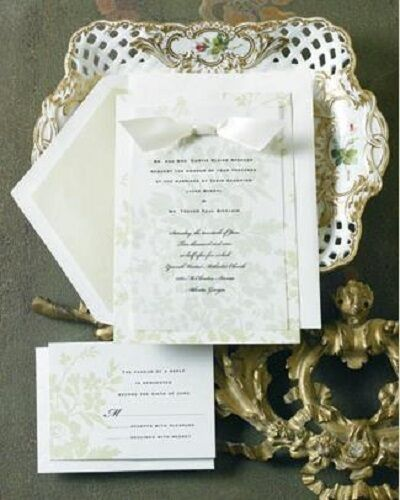 Wedding Invitations Kit: 12 ELEGANT WEDDING INVITATIONS KIT Green Floral Set Formal