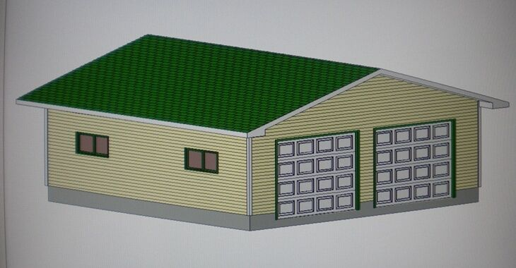 26 39 x 26 39 garage shop plans materials list blueprints ebay for Material list for garage