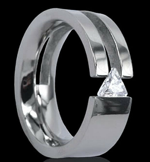 titanium tension 8mm wide unique ring with triangle cz size 13 in gift box ebay. Black Bedroom Furniture Sets. Home Design Ideas