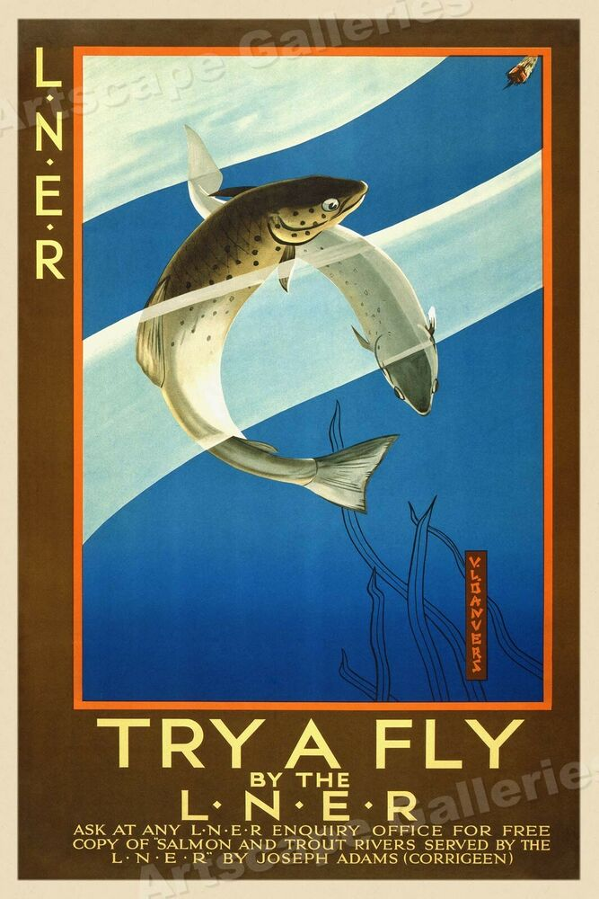 1930s trout fly fishing classic vintage style travel train for Fly fishing posters