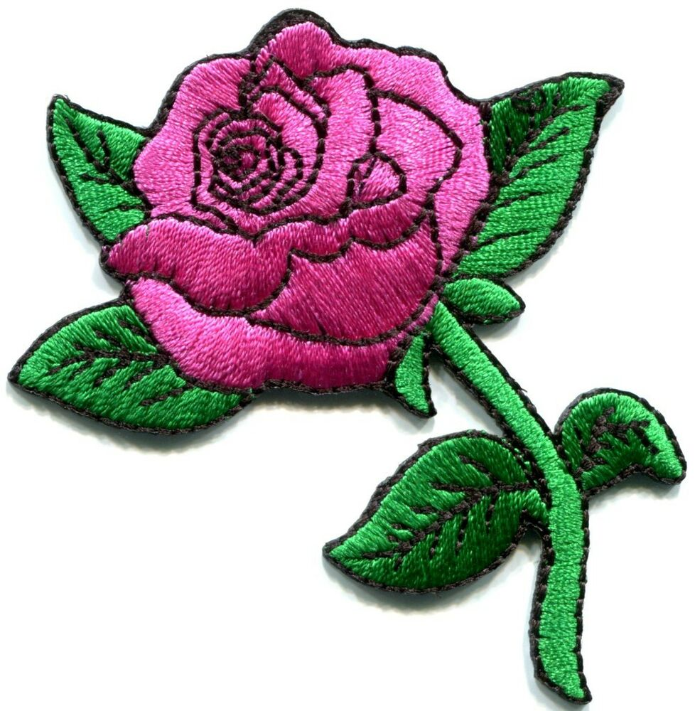 Rose tattoo love applique iron on patch pink s ebay