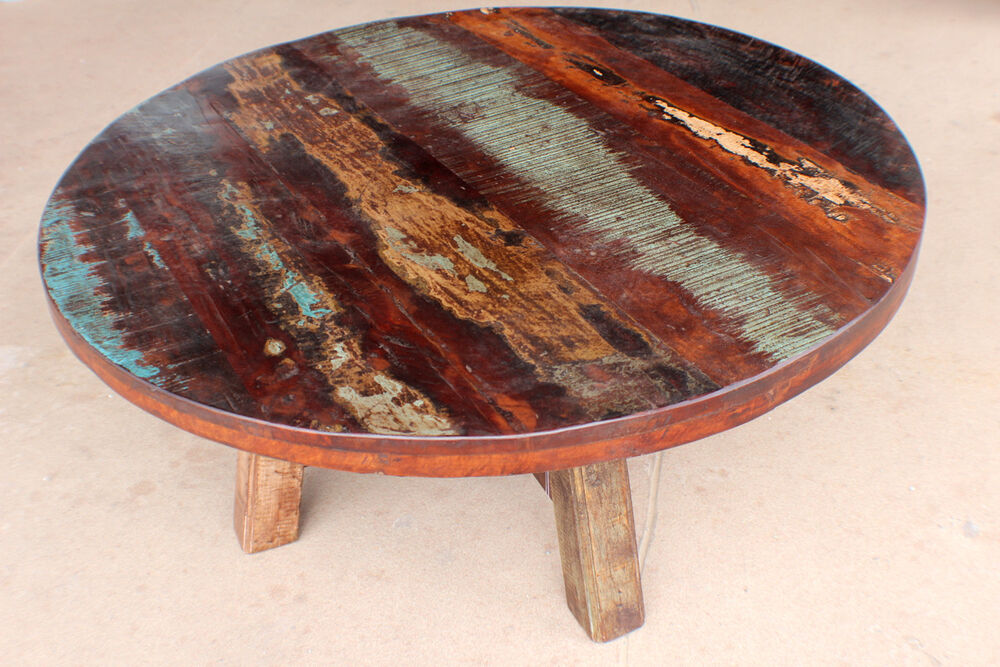 Beautiful vintage rustic round 40 coffee table made with solid reclaim wood ebay Round rustic coffee table