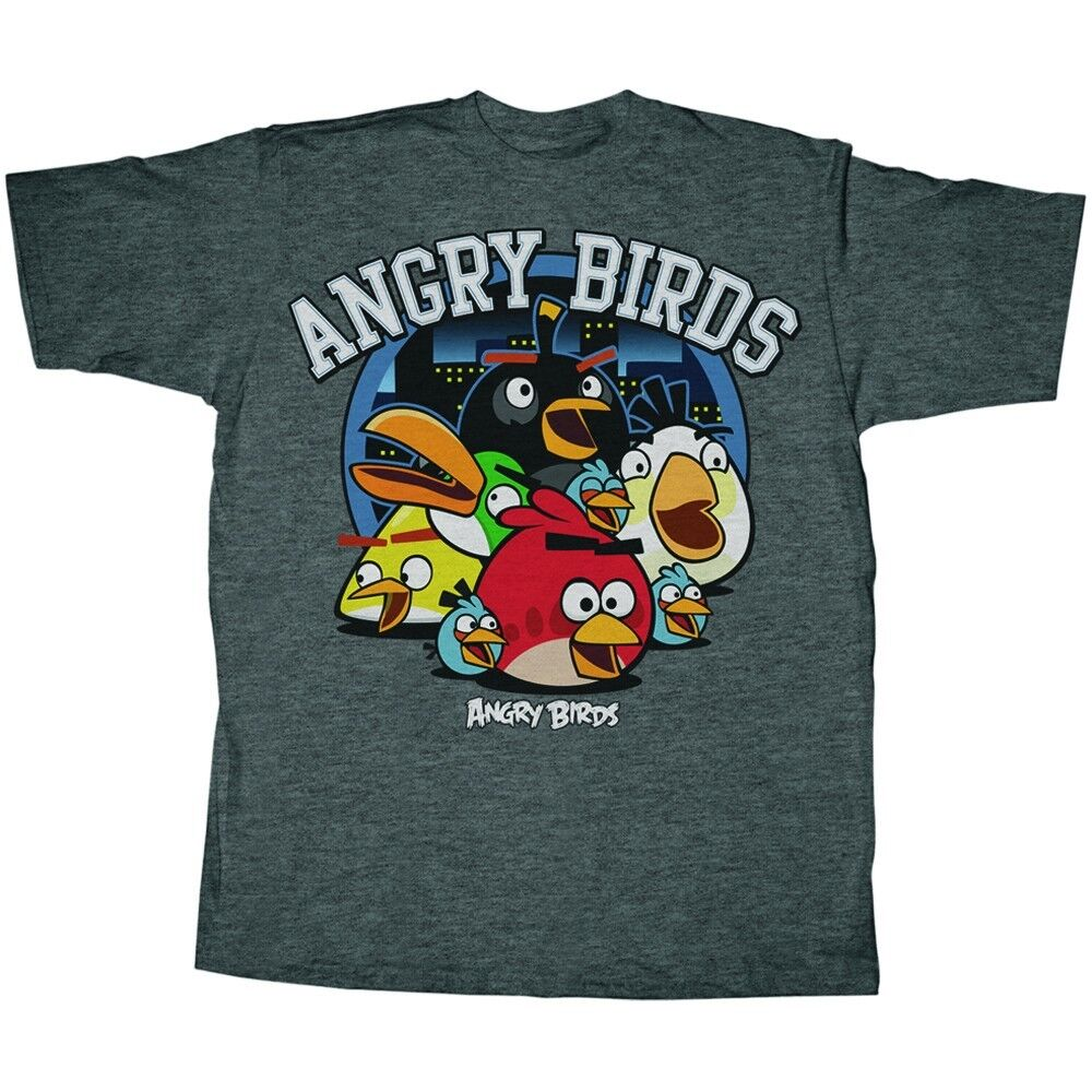 Black, adult small t-shirt, has Angry Birds with 'Jesus Said Love Your Enemies' statement. Does show some wear of picture. Lying flat, shirt measures 17