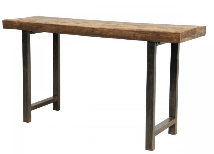 68 old reclaimed distressed wood over iron legs console for Interesting table legs