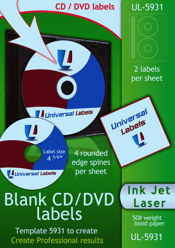 50 cd or dvd labels 2 labels 4 spines per sheet made for Avery 5931 template download