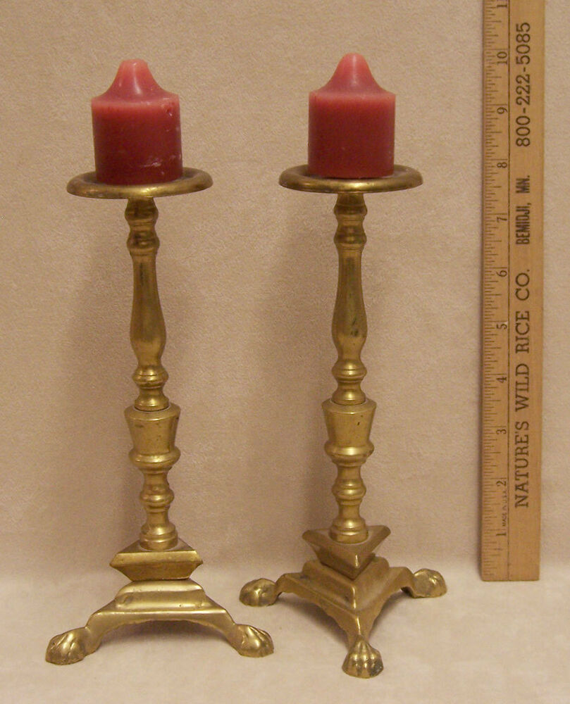 Pair brasstone candle holders w claw feet unique ebay for Creative candle holders