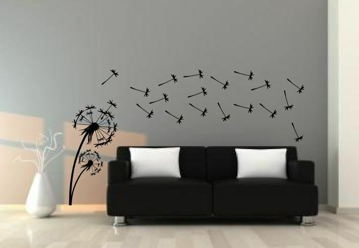 Giant dandelion flower wall sticker art decal mural decals for Dandelion wall mural