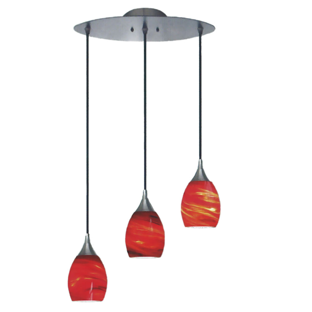 Brushed Nickel And Amaretto Red 3 Light Pendant Ebay