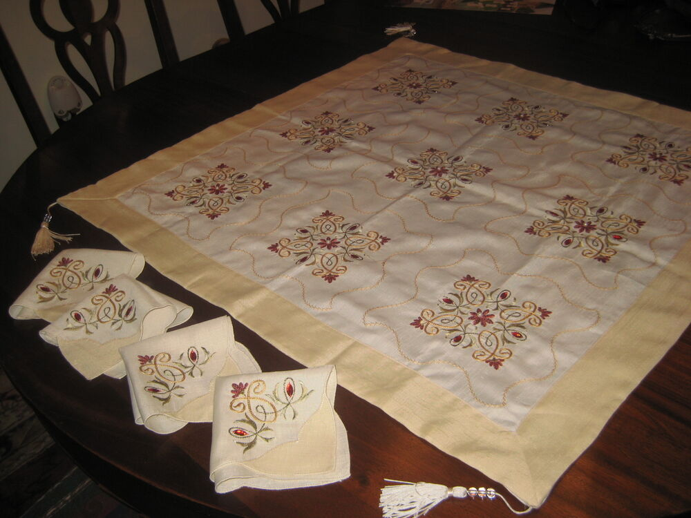 Embroidered Tablecloth Card Table Size Tassels 4 Matching