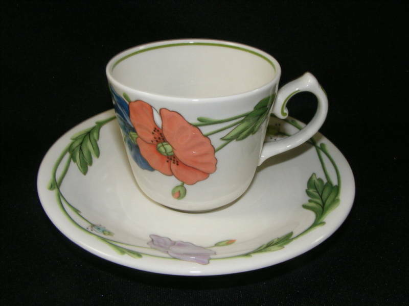 vintage villeroy boch amapola pattern cup saucer made in germany ebay. Black Bedroom Furniture Sets. Home Design Ideas