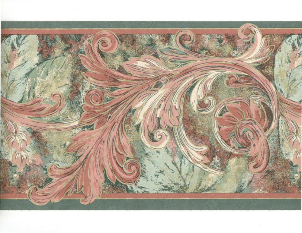 Teal green mauve pink gold acanthus leaf leaves scroll wall paper