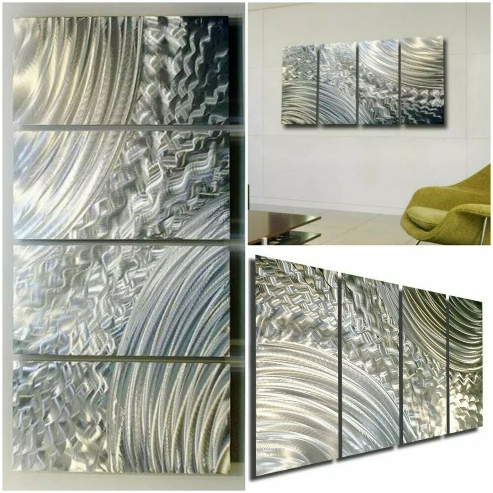Modern Abstract All Natural Silver Metal Wall Panel Art
