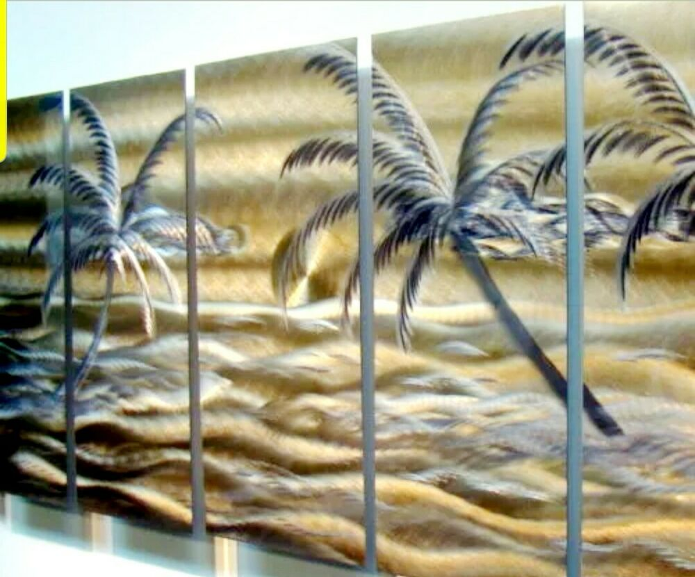 Large tropical contemporary abstract metal wall art for Tropical metal wall art