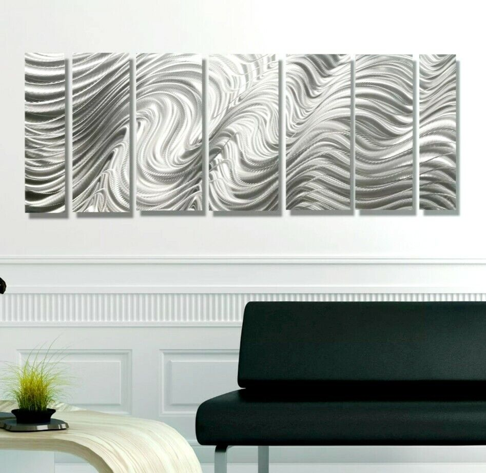 Contemporary Silver Wall Decor : Modern abstract silver corporate metal wall art sculpture
