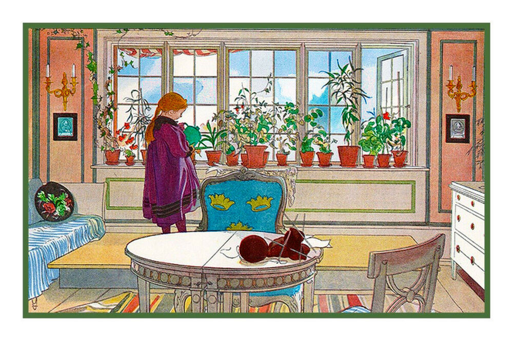 Scandinavian Artist Carl Larsson The Garden Window Counted