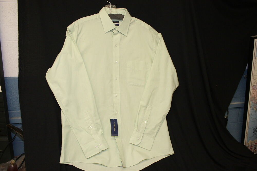 club room easy care green mens dress shirt size 16 sleeve