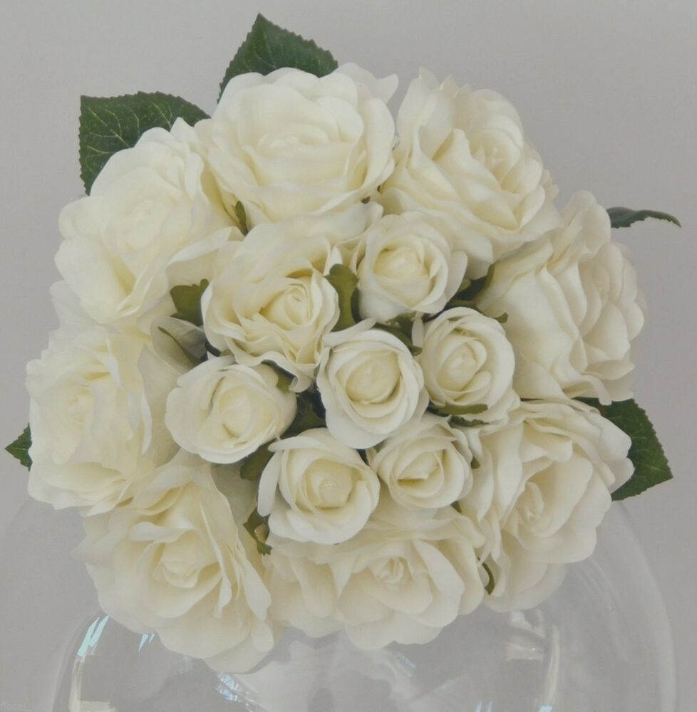 Wedding White Roses: Silk Artificial White Rose Roses Bunch Wedding Bouquet