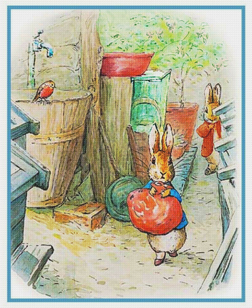 Beatrix potter peter rabbit hears noises counted cross stitch chart