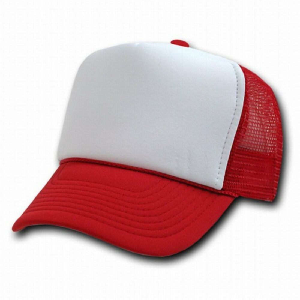 Red Classic Mesh Foam Trucker Vintage Baseball Ball Hat Hats Cap Caps ...