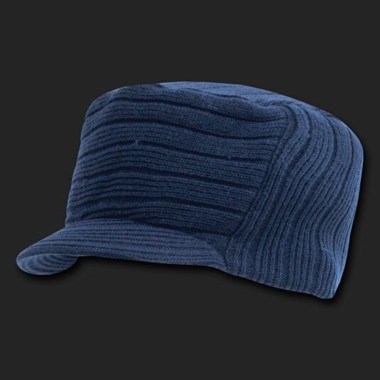 Best Top Jeep >> Navy Blue Knit Flat Top Visor Cap Hat Military Army Cadet ...