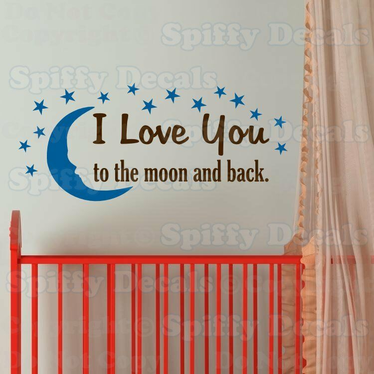 i love you to the moon and back 15 stars quote vinyl wall. Black Bedroom Furniture Sets. Home Design Ideas