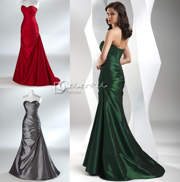 New fantasy taffeta fitted bridesmaid prom dress evening for Fitted ball gown wedding dress