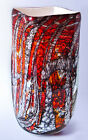 Beautiful Red multi color Hand made Mouth Blown Art glass Vase. Romania Romanian
