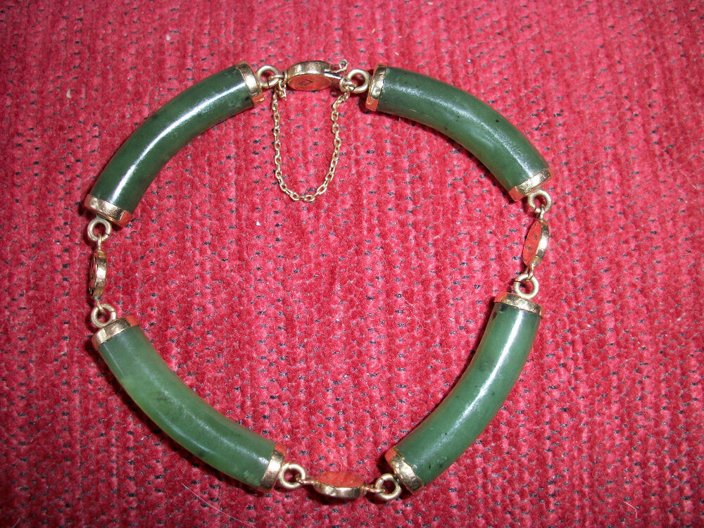Vintage 14k Yellow Gold Green Jade Bracelet 7 Quot From Old
