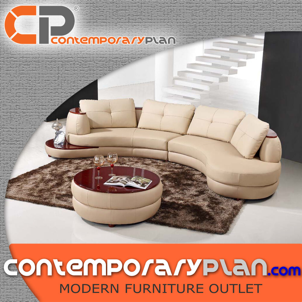 Curved Sofa Sectional Leather: Contemporary Beige Leather Sectional Curved Sofa With