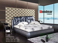 NEW MODERN STYLE LEATHERETTE PLATFORM BED CN9035